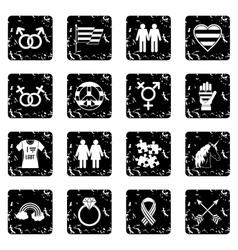 Lgbt icons set vector