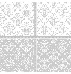 Light grey and white seamless floral pattern vector image
