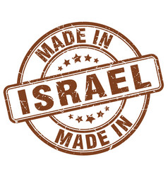 made in israel brown grunge round stamp vector image