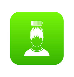 Man with low battery over head icon digital green vector