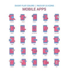 Mobile apps icon dusky flat color - vintage 25 vector