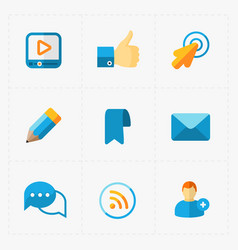 Modern colorful flat social icons set on white vector