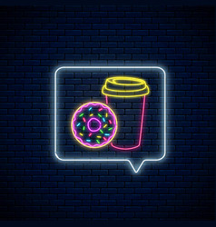 neon sign donut and coffee cup in message vector image