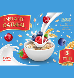 Oatmeal advertising with forest berries vector