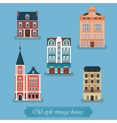 Old style vintage houses set Town city vector