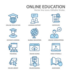 online distance education flat line icons vector image