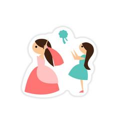 Paper sticker on white background bride throws vector