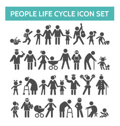 People life cycle icons vector