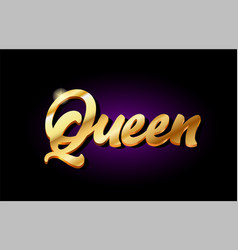 Queen 3d gold golden text metal logo icon design vector