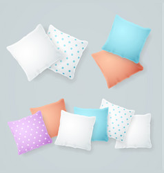 Realistic detailed 3d color and white pillows set vector