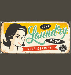 Retro metal sign for laundry room vector