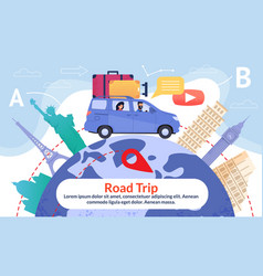 Road trip poster with earth and point interests vector