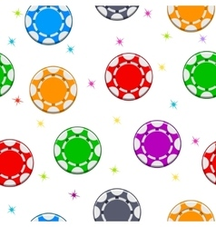 Seamless pattern with Colors Poker Chips vector image