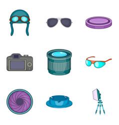 Sense sight icons set cartoon style vector