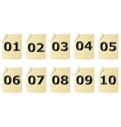 set of artistic number on old yellow recycled vector image