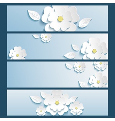 Set of banners blue with 3d flower sakura and leaf vector