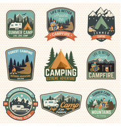 set of summer camp badges concept for vector image