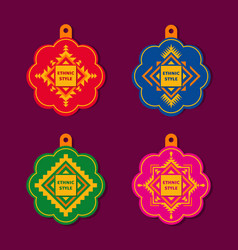 set of tags in ethnic geometric style vector image
