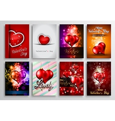 Set of Valentines Flyer Design Invitation Cards vector image
