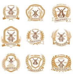 Set wheat flour emblems design element vector