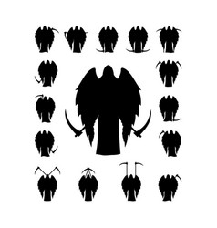 Set winged death with a scythe silhouette vector