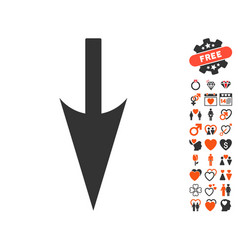 Sharp down arrow icon with dating bonus vector