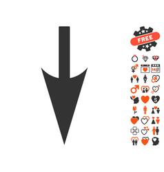 sharp down arrow icon with dating bonus vector image