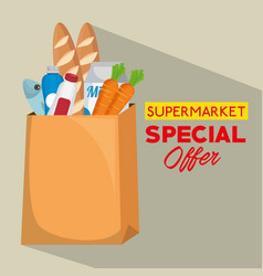 shopping bag with supermarket products vector image