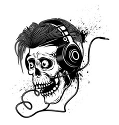 skull with headphones on grunge background design vector image