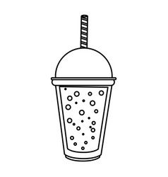 Soft drink in disposable cup icon image vector