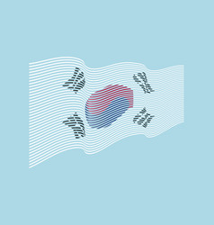 south korea flag on blue background wave s vector image