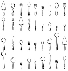 spoons forks and knives vector image