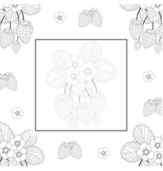 Strawberry and flower outline banner on white vector