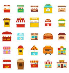 Street food kiosk icons set isolated vector