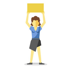 striking woman holding empty yellow banner above vector image vector image