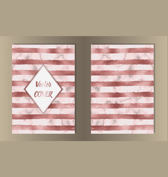 Stripe pink gold and marble covers vector