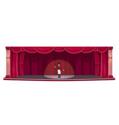 Theater stage red drapery curtains actor show vector