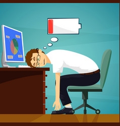 Tired worker in the workplace low battery charge vector