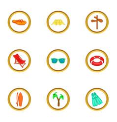 Travel icons set cartoon style vector