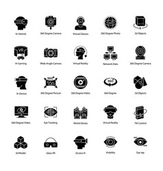 Virtual reality glyph icons set vector
