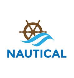 water wave ship wheel marine boat nautical vector image