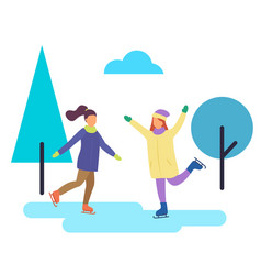 Winter character figure skating people in park vector