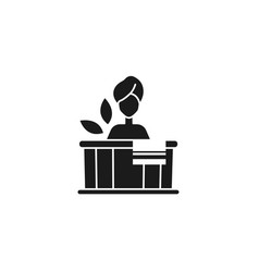 Woman in tub spa silhouette style icon vector