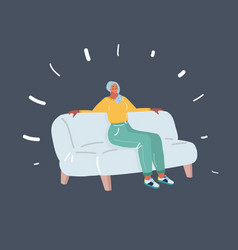 woman sitting and dreaming on sofa vector image
