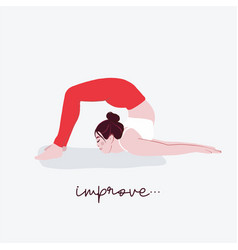 woman yoga with typography improve flat female vector image
