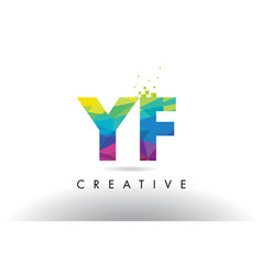 Yf y f colorful letter origami triangles design vector