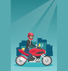 young caucasian woman riding a motorcycle at night vector image