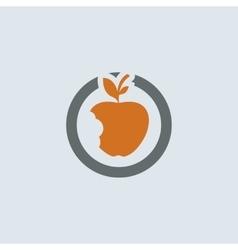 Gray-orange Bitten Apple Round Icon vector image