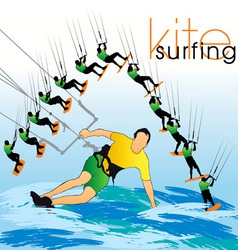 kite surf set vector image vector image