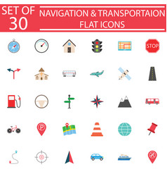 Navigation flat icon set transport signs vector